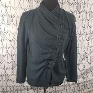 Lafayette 148 Dark Teal Asymmetrical Fold Sweater